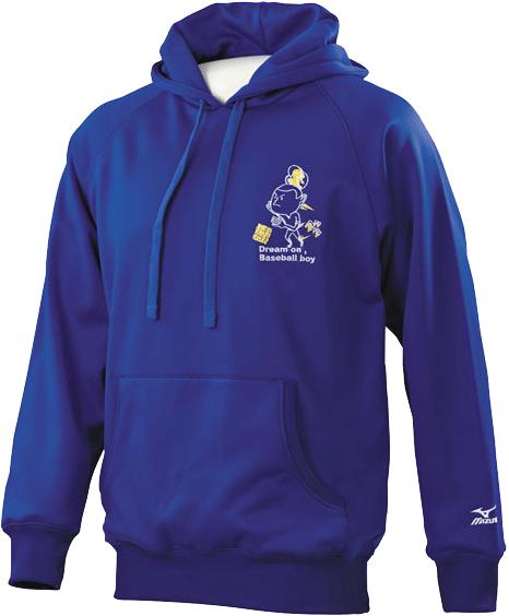 MIZUNO 美津濃 內刷毛連帽長袖T恤(藍) 休閒運動皆宜.有140-150cm小童尺寸