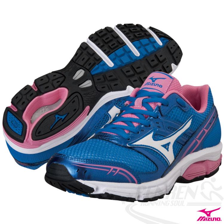 MIZUNO 美津濃女慢跑鞋(藍*粉紅) WAVE IMPETUS適用中高足弓 2014新品J1GF141402