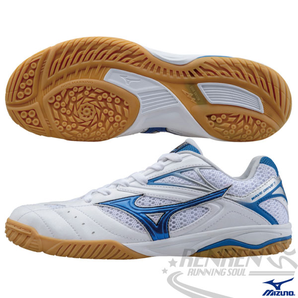 MIZUNO美津濃 Wave Drive 7 桌球鞋(白*藍) 止滑大底 避震彈性鞋墊