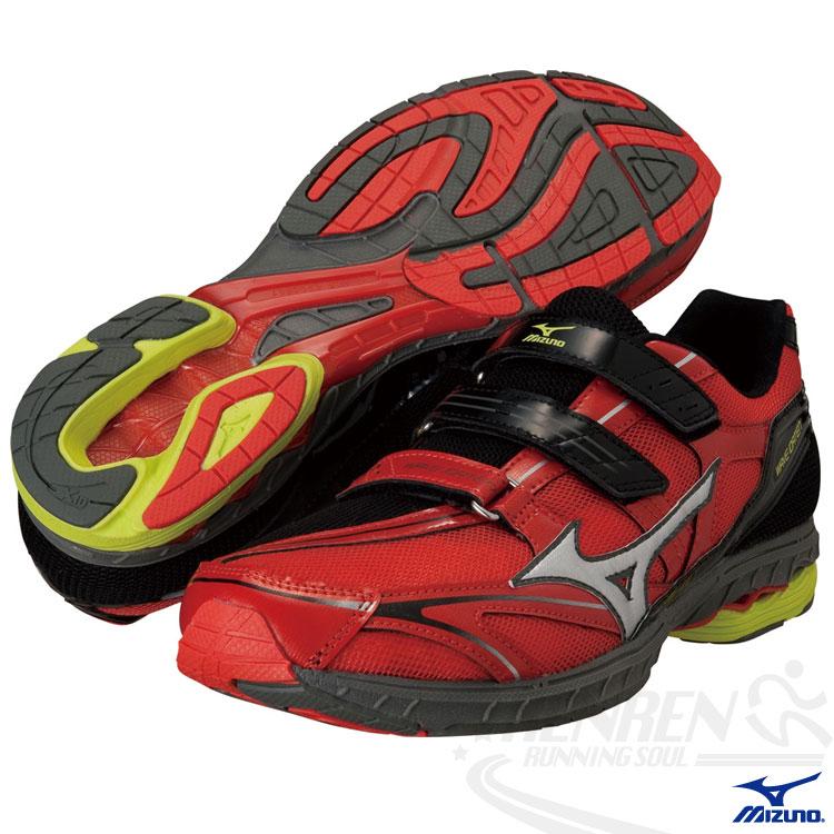 MIZUNO 美津濃 Wave Idaten DYNA BT 自粘式路跑鞋(紅) 2014新款魔鬼氈鞋帶 J1GA148905免運