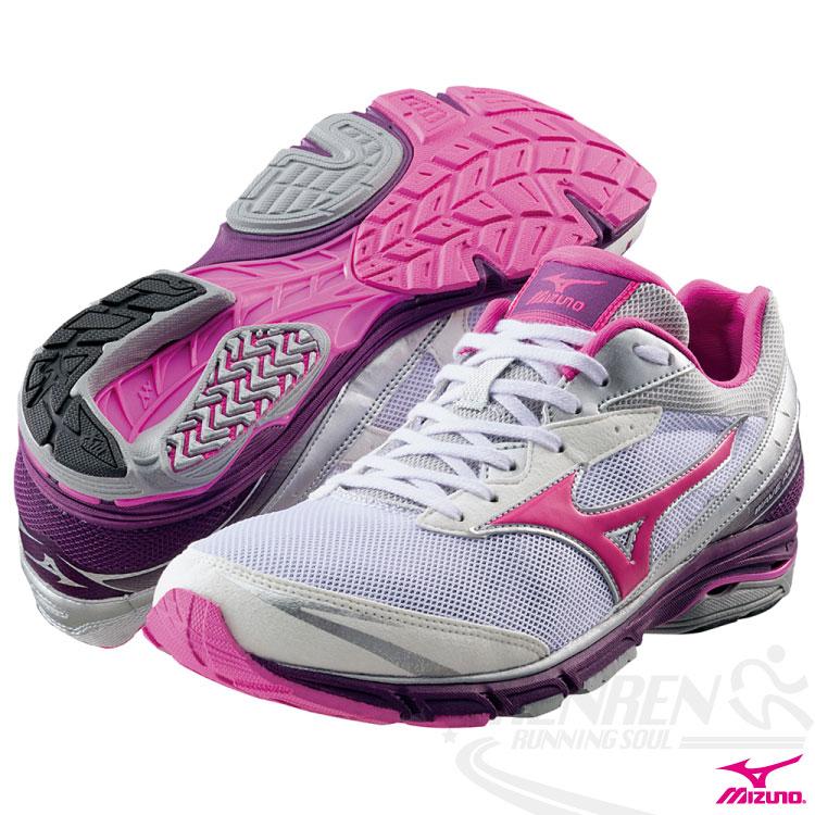MIZUNO美津濃 WAVE AMULET 5 女路跑鞋(白*粉紅) 中低足弓 2014下半季新款