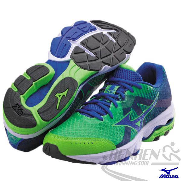 MIZUNO美津濃 WAVE ELEVATION 男慢跑鞋(綠藍漸層) 緩衝型鞋款