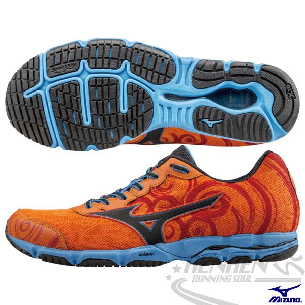 MIZUNO 美津濃 WAVE HITOGAMI 2 男路跑鞋(橘*天藍) 2015新款 慢跑訓練鞋 人神!以快止戰