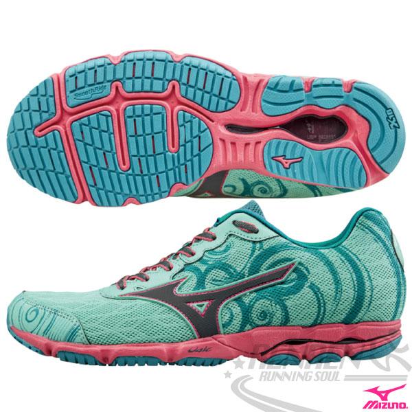 MIZUNO 美津濃 WAVE HITOGAMI 2 女路跑鞋(薄荷綠*粉) 2015新款 慢跑訓練鞋 人神!以快止戰