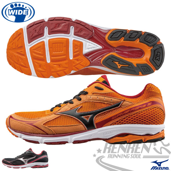 MIZUNO 美津濃 男Wave Aero 13寬楦慢跑鞋 路跑訓練鞋(橘)2015年輕量升級新品