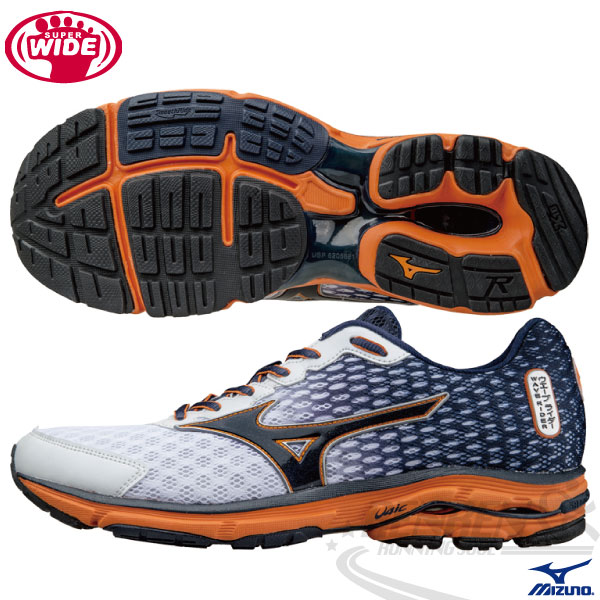 MIZUNO 美津濃 WAVE RIDER 18 男慢跑鞋(白*丈青*橘) 2015年新款發燒貨