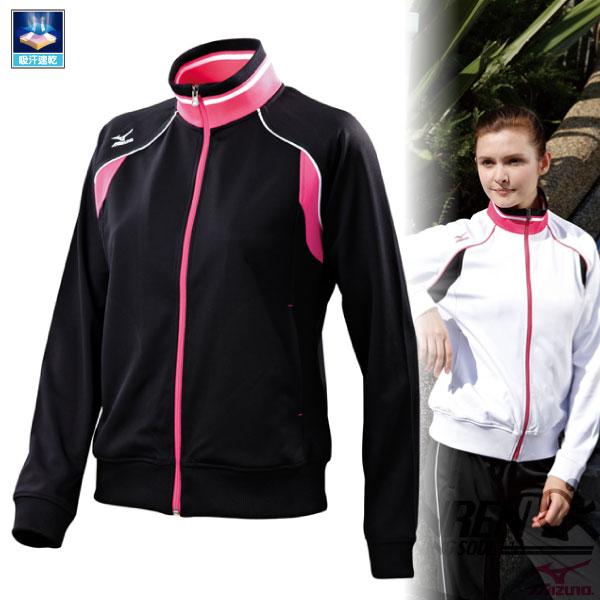 MIZUNO美津濃 學院風 女針織運動外套 立領外套(黑*粉紅) 吸汗速乾 舒適彈性