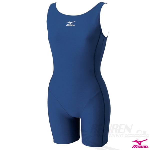 MIZUNO美津濃 BASIC 女連身四角泳衣(丈青) 基本練習連身泳裝