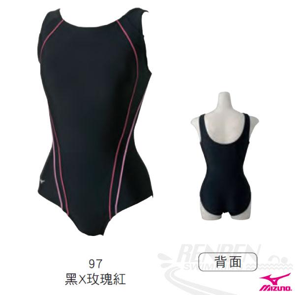 MIZUNO美津濃 SWIM FITNESS女連身泳衣(黑*玫瑰紅) 泳裝 B85AE31397