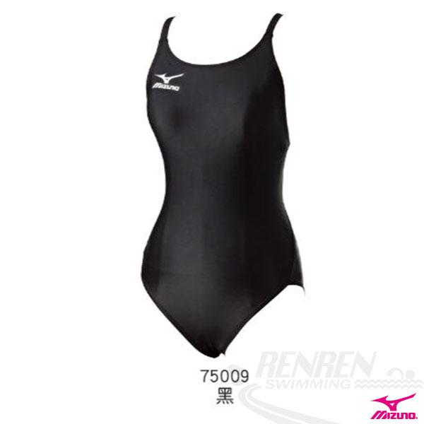 MIZUNO美津濃 BASIC女連身泳衣。(黑)B85EB75009