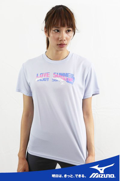 MIZUNO美津濃 女抗UV排汗短袖T恤(粉紫) 56TL-16028