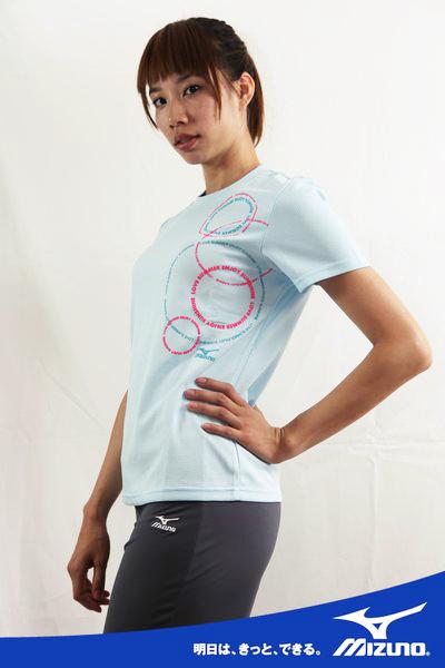 MIZUNO美津濃LOVE SUMMER系列女短袖T恤(天藍) 吸汗快排 56TL-16126