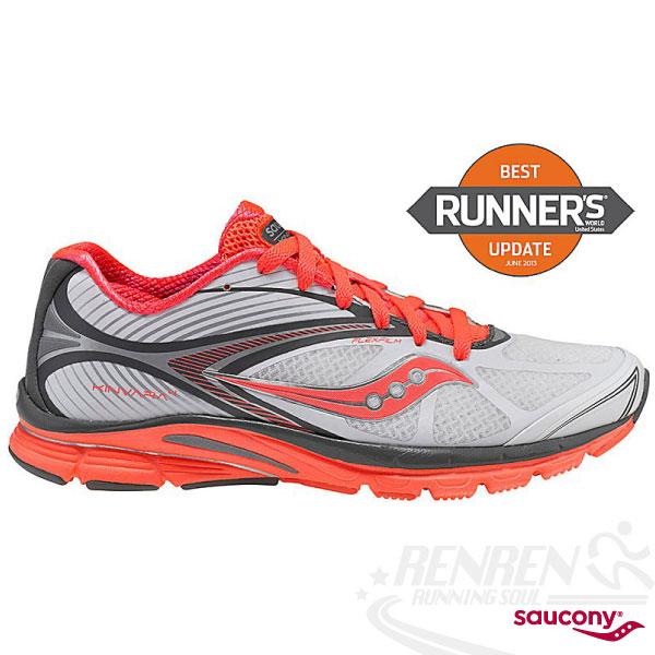 SAUCONY 自然3系列 KINVARA 4 女輕量慢跑鞋(白/珊瑚色) PowerGrid 輕量緩衝避震 SY10197-2免運