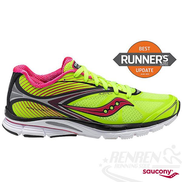 SAUCONY 自然3系列 KINVARA 4 女輕量慢跑鞋(螢光黃/粉) PowerGrid 輕量緩衝避震SY10197-3免運