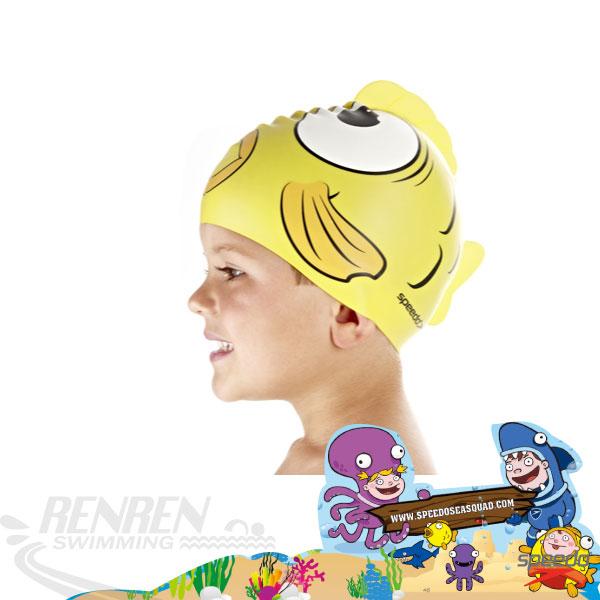 SPEEDO 兒童黃色金魚矽膠泳帽 2014新到貨 SD8087690000B