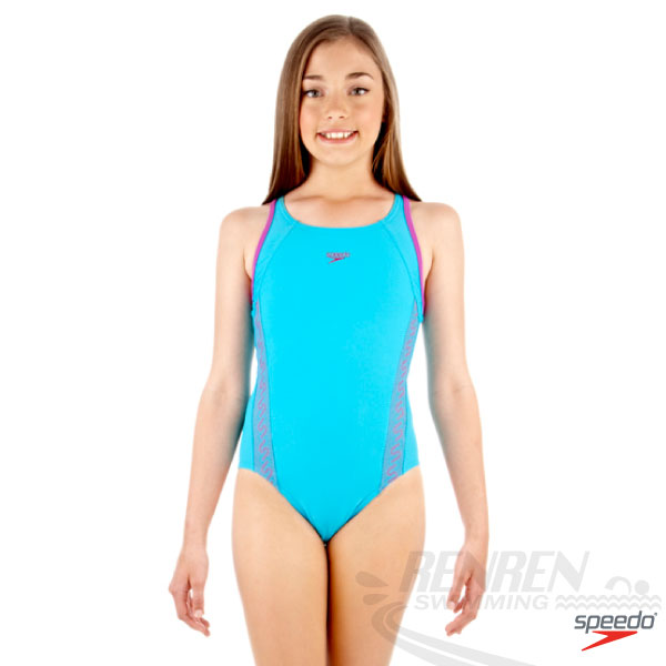 SPEEDO 女孩Monogram連身運動泳裝(藍-紫)ENDURANCE10 SD8087479355