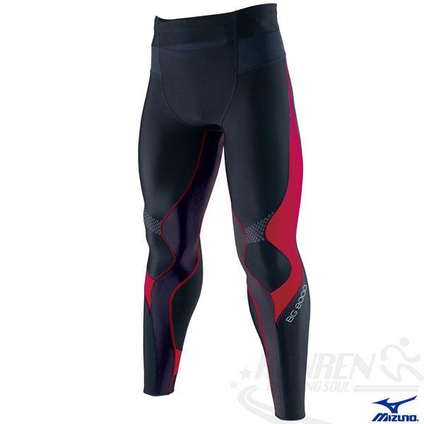 MIZUNO美津濃 BIO GEAR BG8000男全長緊身褲(黑*紅) 膝蓋小腿肌肉支撐力