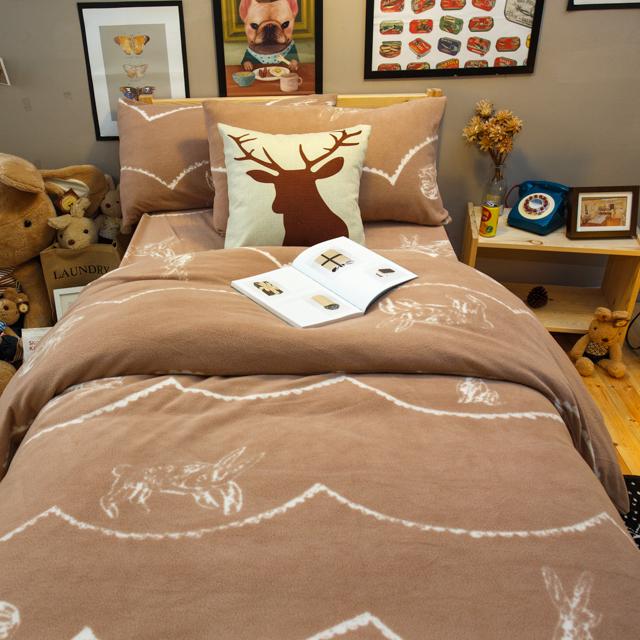 搖粒絨床組 可可塗鴉兔  單人/雙人/加大綜合賣場  溫暖過冬 台灣製