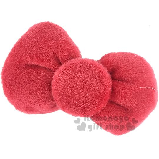 〔小禮堂〕Hello KItty 絨毛造型髮夾《紅.蝴蝶結型》居家.派對適用