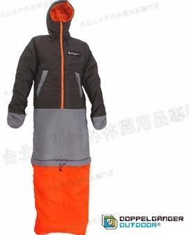 零碼特價/營舞者/Doppelganger/露營用品/穿著睡三件式睡袋 外套/大衣/睡袋 S1-80黑橘