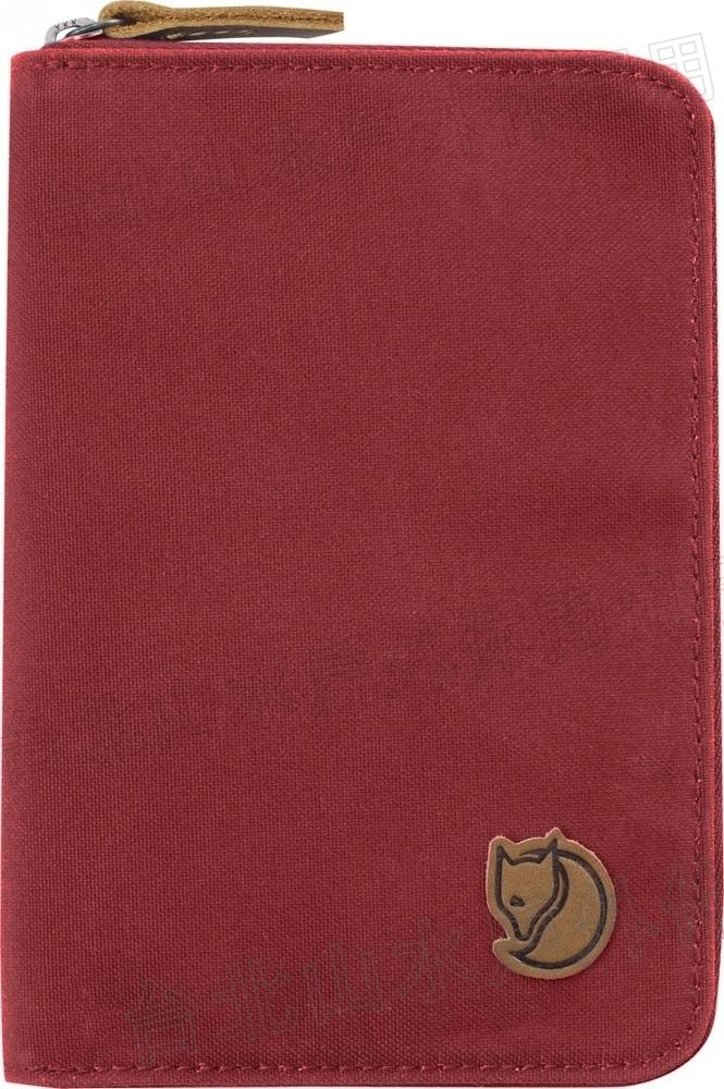 Fjallraven 瑞典北極狐 Passport Wallet 旅遊護照包/復古拉鍊皮夾/錢包 24220-325 深紅