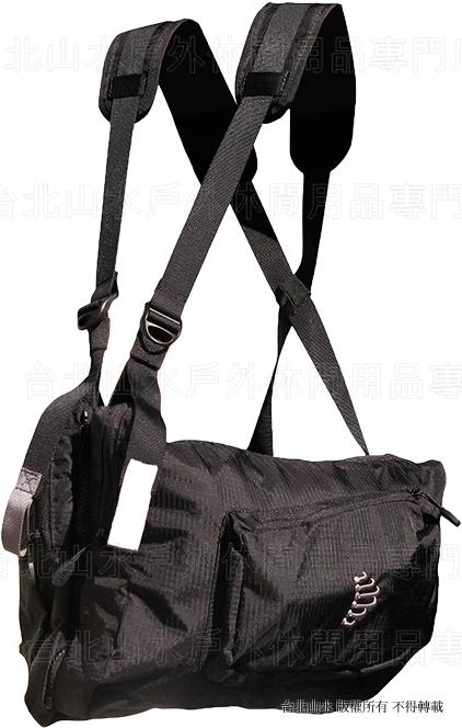 [ RIBZ ] 美國 RIBZ 多功能胸前袋/攝影背心/釣魚背心/登山多口袋胸掛包 黑色