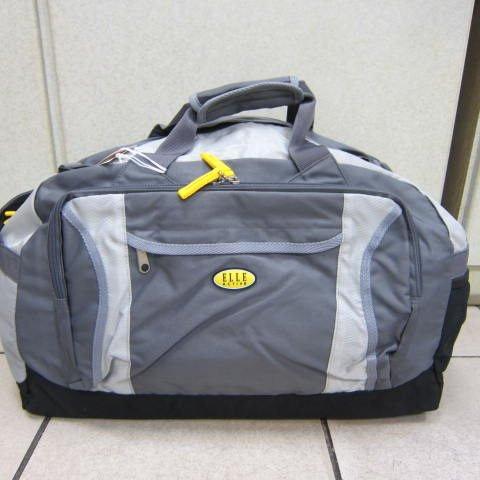~雪黛屋~ELLE 旅行袋 超輕防水尼龍布材質 可手提肩背斜側背 大容量可折疊收置抽屜EA716907灰