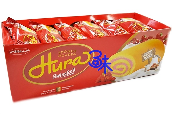 (越南) HURA 迷你瑞士捲 草莓牛奶味 迷你蛋糕捲 1盒360公克(20入) 特價 83 元【8934609602506】