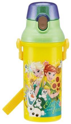 日本原裝 兒童直飲式彈蓋冷水壺480ml(冰雪奇緣/黃)/背帶/迪士尼
