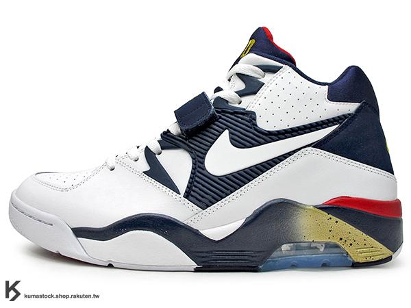 2016 NBA 超經典復刻 90年代籃球鞋名作 NIKE AIR FORCE 180 OLYMPIC 白深藍紅 奧運 美國隊 皮革 大氣墊 Charles Barkley 著用鞋款 MAX 1992 經典名作 (310095-100) !