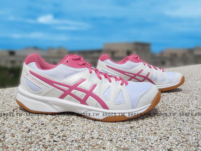 Shoestw【B450N-0120】ASICS 排羽球鞋 膠底 白粉紅 女生