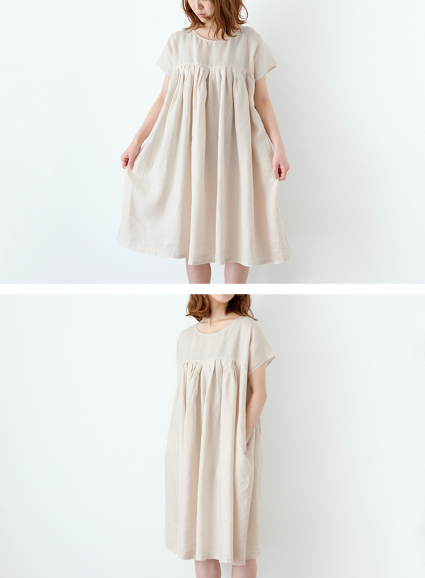 滿700再折$100 [閒雲]日系森林系禪意系列麻多層皺褶寬鬆短袖洋裝 - 御聖願