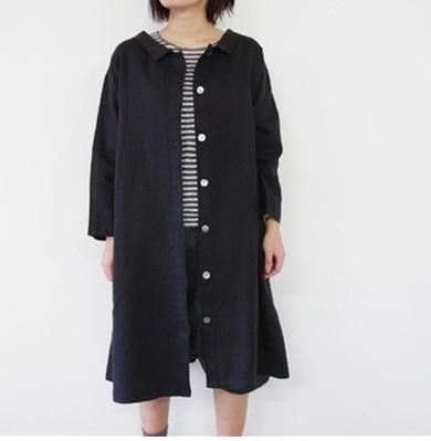 滿700再折$100 [麻元素]森林系和風簡約亞麻風琴褶2面穿五分袖小領洋裝 - 御聖願