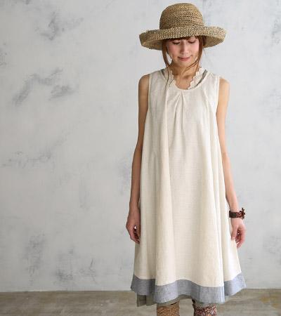 滿700再折$100 [潺潺流水]日系森林系簡約棉麻拼接背心洋裝 - 御聖願