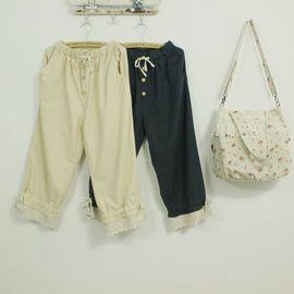 滿700再折$100 [再別康橋]森林系經典棉麻休閒褲九分褲寬鬆均碼腰拉繩2穿型款 - 御聖願