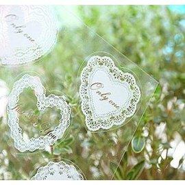 滿700再折$100 [最愛蝴蝶結]韓日記卡片多功能貼紙浪漫蕾絲印花透明貼?(3款)白色 - 御聖願