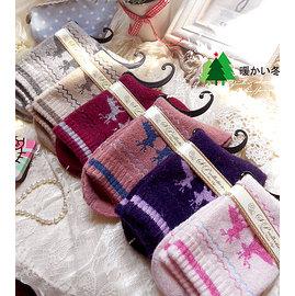 滿700再折$100 [梅花鹿&雪撬]日系加厚中筒襪保暖兔羊毛襪子/短襪/襪 - 御聖願
