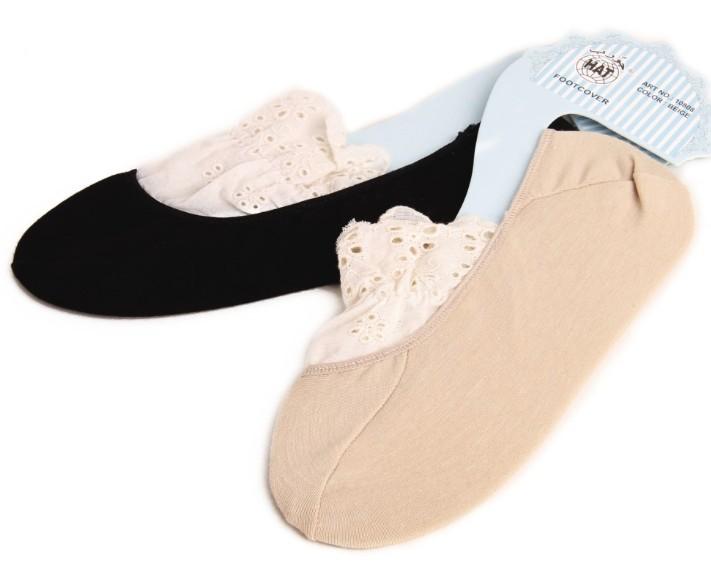 滿700再折$100 [靴下?戀]復古vivi森林系蕾絲襪純棉白色花邊襪子襪隱形襪 - 御聖願