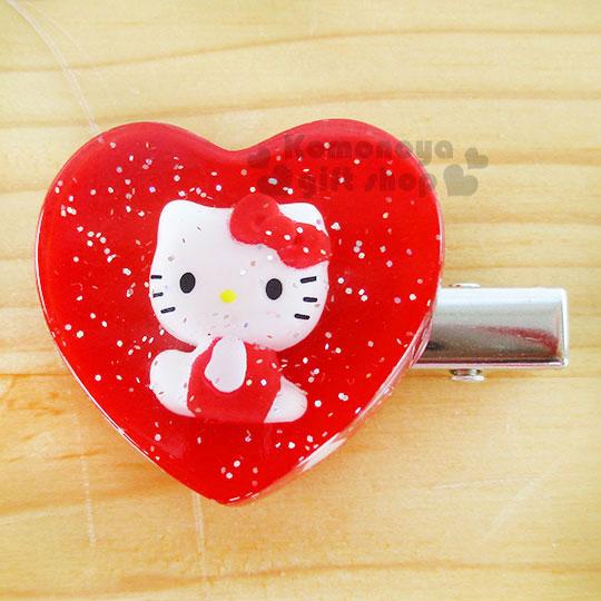 〔小禮堂〕Hello Kitty 壓克力造型髮夾《小.紅.心型.側坐.閃亮》