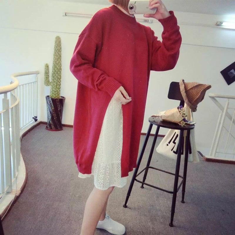 PS Mall 側面開叉淨版長款毛衣連身裙 洋裝【T2806】