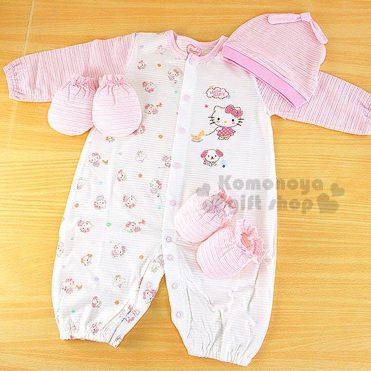 〔小禮堂嬰幼館〕台灣 佳美 Hello Kitty 兩用嬰兒服禮盒組《粉條紋.側站.朋友.60cm》送禮體面大方