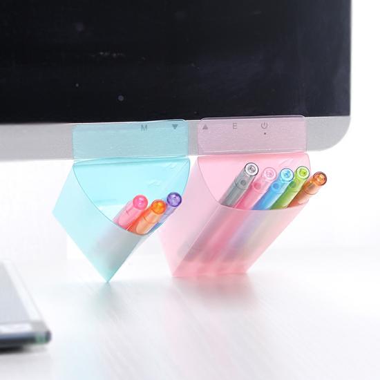 ♚MY COLOR♚螢幕輔助文具黏貼袋 筆袋 工具 刀片 迴紋針 桌面 收納 整理 雜物 辦公 小物【F57】