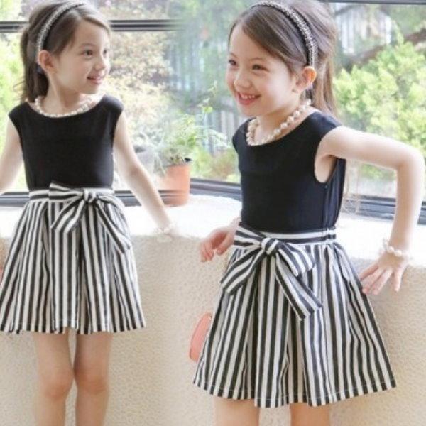 【班比納精品童裝】氣質拼接條紋背心洋裝 棉洋裝-時尚黑【BO150709035】