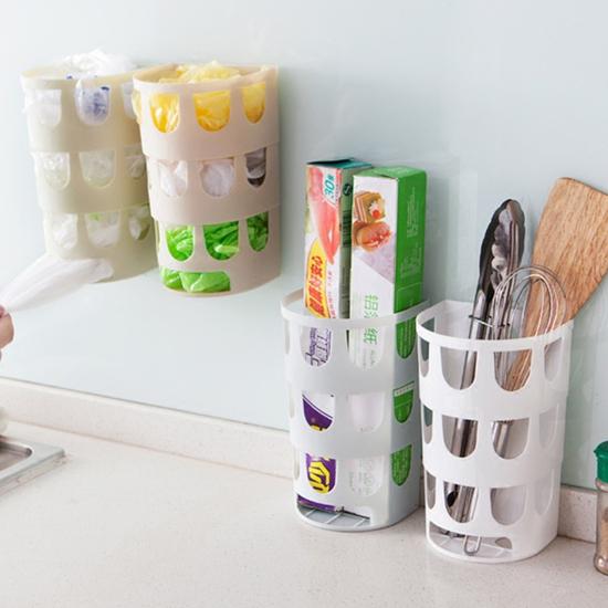 ♚MY COLOR♚黏貼式鏤空收納盒 垃圾袋 雜物 廚房 餐具 工具 洗漱 衛浴 牆面 壁面 掛孔【G14-1】
