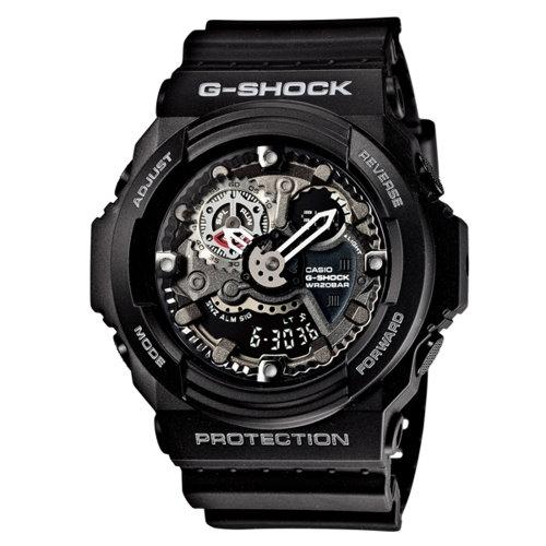 CASIO G-SHOCK/雙顯潮流粗曠風運動錶/黑/GA-300-1ADR