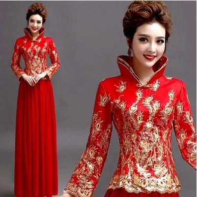 天使嫁衣【AE2256】紅色兩件式小鳳仙金線剌繡旗袍長禮服˙預購訂製款