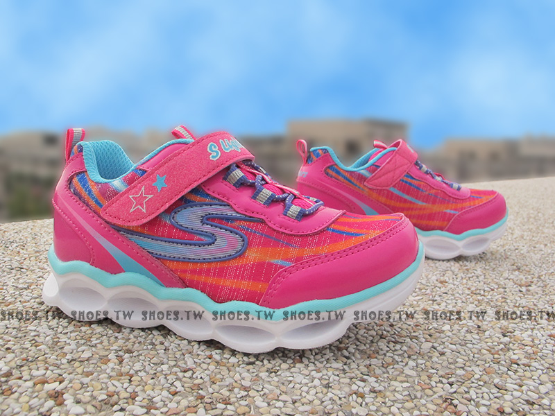 Shoestw【10613NHPMT】SKECHERS 小童鞋 電燈鞋 LED 桃紅 黏帶 運動鞋