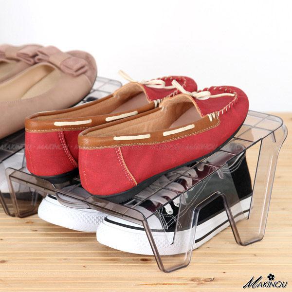 日本MAKINOU 鞋架|斜板式收納鞋架2入組|分層收納架 節省鞋 櫃空間鞋子鞋盒鞋櫃