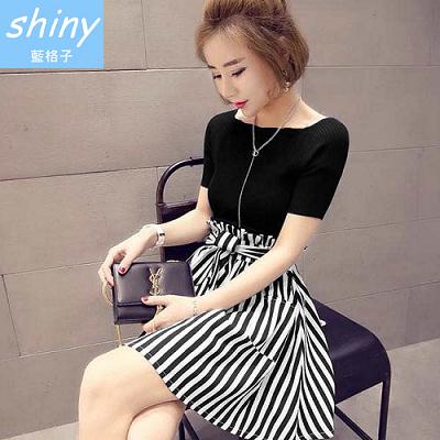 【V1119】shiny藍格子-小香風.短袖上衣+條紋高腰綁帶短裙二件式套裝
