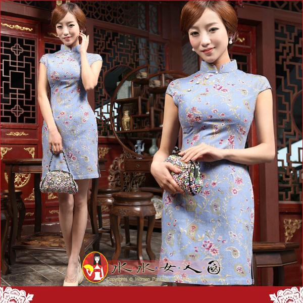 【水水女人國】~夏日特價550元~忘憂草(淺紫藍)。復古亞麻花布改良式時尚短旗袍